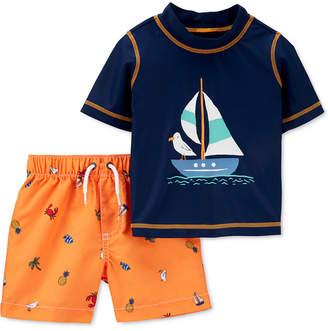 Carter's Carter Baby Boys 2-Pc. Sail Boat Rash Guard Set