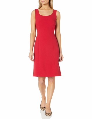 Tahari ASL Women's Sleeveless Seamed Crepe Dress with Back Slit