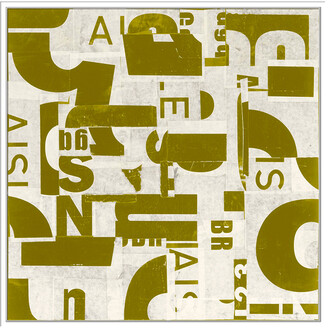 Jonathan Bass Studio Collaged Letters Gold C, Decorative Framed Hand Embellished Canvas