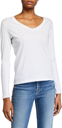Majestic Filatures V-Neck Long-Sleeve Silk Touch Cotton Top
