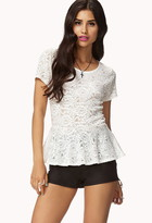 Forever 21 Chantilly Lace Peplum Top
