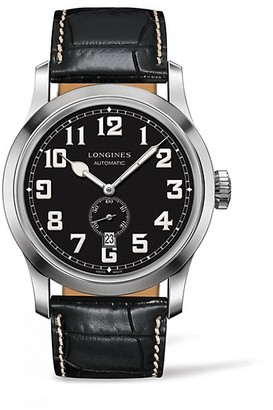 Longines Heritage Military Embossed Leather Strap Watch