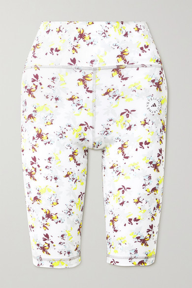 Thumbnail for your product : adidas by Stella McCartney Trueperformance Floral-print Recycled Stretch Shorts - White