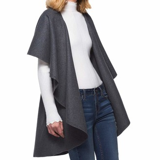 Homebaby Women Jacket HOMEBABY Ladies Cape Cardigans Shawl Windbreaker Women Long Sleeve Winter Knitted Cashmere Poncho Sweater Coat Gray