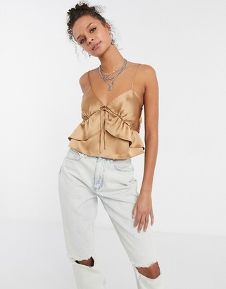 Topshop seam detail satin cami top in champagne gold