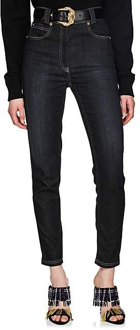 Versace Women's High-Rise Tapered Jeans - Black