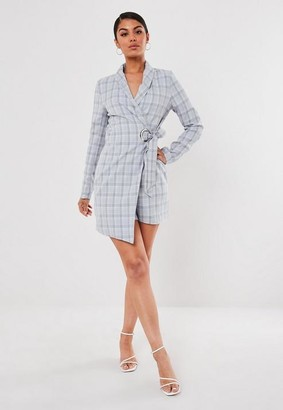 Missguided Tall Gray Check Eyelet Detail Blazer Dress