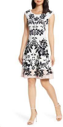 Eliza J Jacquard Fit & Flare Sweater Dress