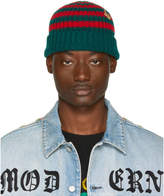 Gucci Red and Green Striped Wool Beanie