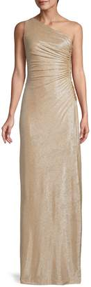 Calvin Klein One-Shoulder Ruched Metallic Gown