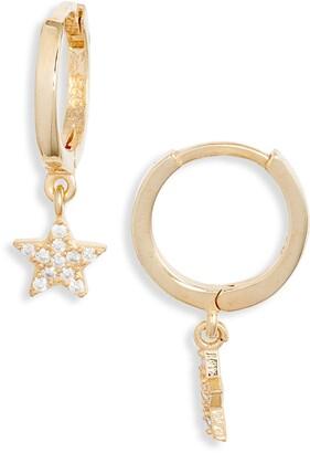 Argentovivo Cubic Zirconia Star Pendant Huggie Hoop Earrings