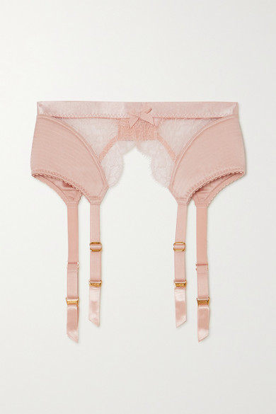 Agent Provocateur Helene Leavers Lace And Satin Suspender Belt