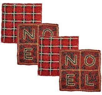 Sudha Pennathur Noel Tartan Plaid Hand Embroidered Beaded 4-Piece Coaster Set