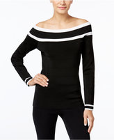 INC International Concepts Petite Striped Off-The-Shoulder Sweater, Only at Macy's