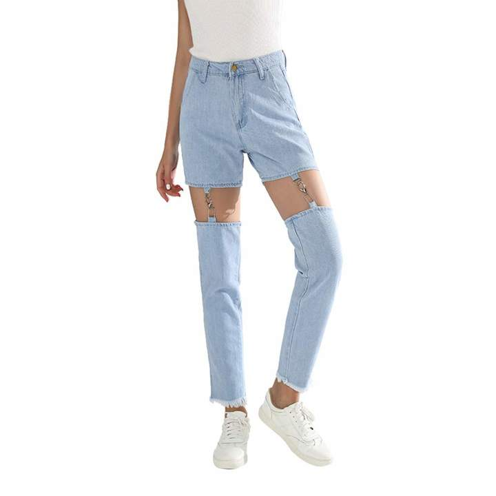29a9d3b337e3f Topgee Women's Pants Topgee Women's High Waisted Destroyed Ripped Hole  Denim Pants Long Pencil Jeans