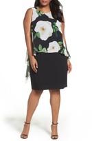 Tahari Plus Size Women's Floral Popover Sheath Dress