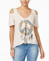 Self E Juniors' Cold-Shoulder Graphic T-Shirt