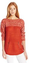 It's Our Time Junior's Colorblock Round Hem Tunic Sweater with Zipper