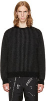 Christian Dada Black and Grey Striped Crewneck Sweater