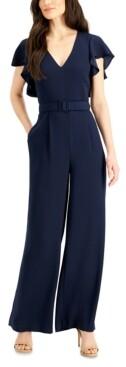 Eliza J Flutter-Sleeve Belted Jumpsuit