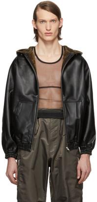 Random Identities Black Faux-Leather Hoodie
