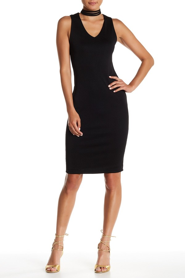 Blvd Strappy Mock V-Neck Solid Dress