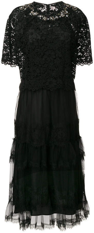 Antonio Marras lace embroidered tiered dress