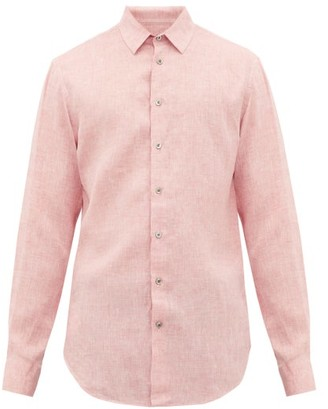 Giorgio Armani Slubbed Fil-a-fil Linen-poplin Shirt - Mens - Pink