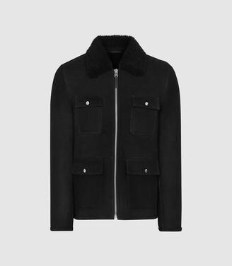 Reiss Church - Four Pocket Shearling Jacket in Black