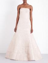 Oscar de la Renta Strapless metallic-jacquard gown