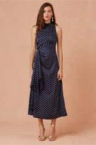 Keepsake FOOLISH MIDI DRESS navy w porcelain polka dot