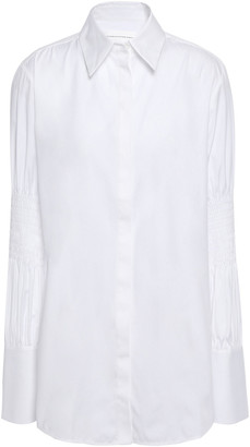 Victoria Victoria Beckham Shirred Cotton-poplin Shirt