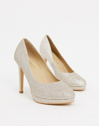 Truffle Collection sparkly heeled shoes in light gold