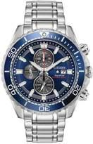 Citizen Eco-Drive Promaster Diver Blue Chronograph Dial Stainless Steel Bracelet Mens Watch