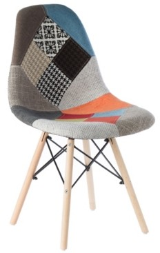 Bold Tones Mid-Century Modern Upholstered Plastic Fabric Patchwork Shell Dining Chair with Wooden Dowel Eiffel Legs