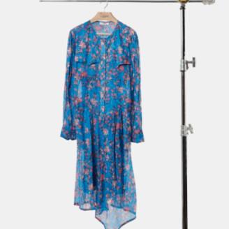Isabel Marant Blue Sleeves Round Neckline Long Elka Dress - 38