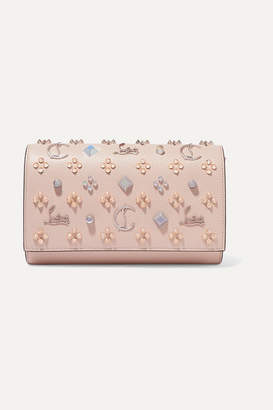 Christian Louboutin Paloma Embellished Textured And Patent-leather Clutch - Baby pink