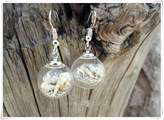 Flowers Ocean earrings, Nautical earrings, Earrings small, Sea earrings,Beach earrings, Simple silver earrings, One of a kind earrings