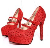 Gaorui Women Glitter Rhinestones Studded Pumps Platform Wedge high heel Shoes Silver