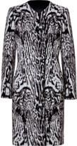 Roberto Cavalli Wool-Alpaca Jacquard Coat in Black/Light Grey