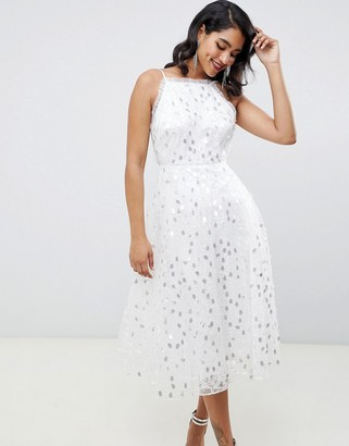 Asos Edition EDITION halter midi dress in embroidered sequin-White