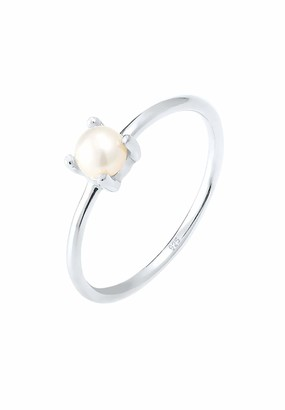 Elli Women's 925 Sterling Silver Gold Plated Xilion Cut Round Chinese Freshwater Cultured Pearl Ring Size Q