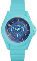 Fossil Women's Quartz Rubber and Silicone Automatic Watch, Color:Blue (Model: ES4068)