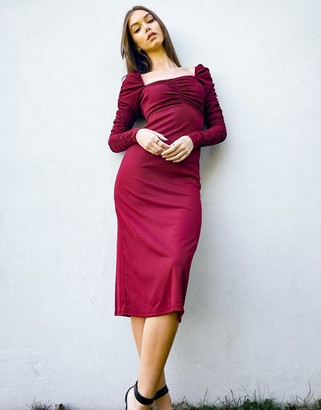 Topshop long sleeve dress with ruched waist in burgundy