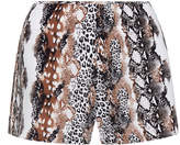 Equipment Lewis White and Brown Animal Print Washed-Silk Shorts