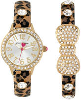 Betsey Johnson Women's Brown Leopard Printed Imitation Leather Strap Watch & Bangle Bracelet Set 30mm BJ00536-39