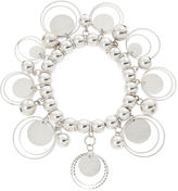 Boutique + Silver-Tone Textured Disc Shaky Stretch Bracelet