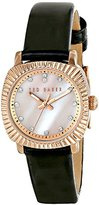 Ted Baker Women's TE2120 Mini Jewels Rose Gold-Tone Black Leather Watch