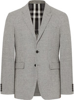 Burberry Black Slim-Fit Puppytooth Woven Blazer