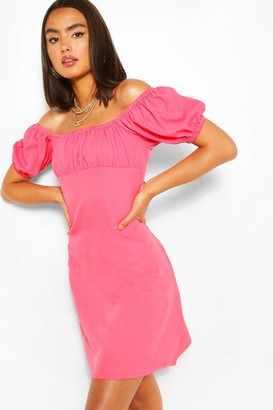 boohoo Bust Sleeve Rouched Bust Swing Dress